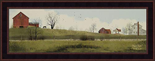 Rural Route by Billy Jacobs 11x27 Red Barn Farm Horse Country Road Fields Framed Folk Art Print - Field Jacobs Framed