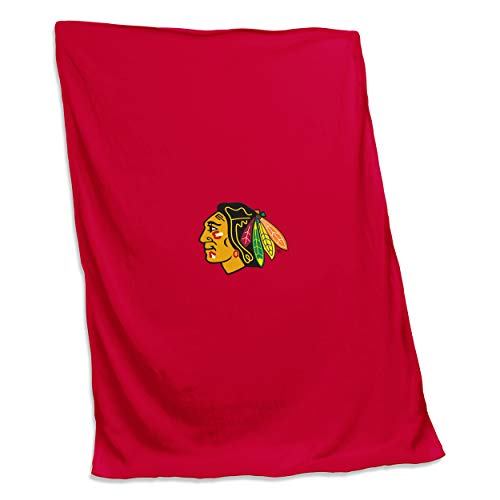 (Logo Brands 807-74 NHL Chicago Blackhawks Unisex NHL 54X84 Sweatshirt Blanket with Tackle Twill Patch, One Size, Red)