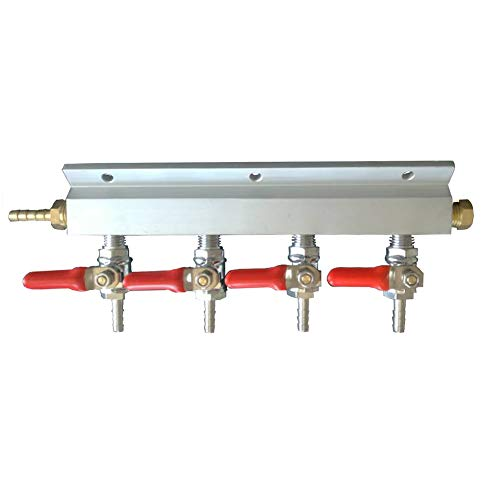 (4 Way CO2 Distributor, Wrewing Homebrew Beer Gas Manifold Distributor with 1/4 Barb Fitting (4 way))