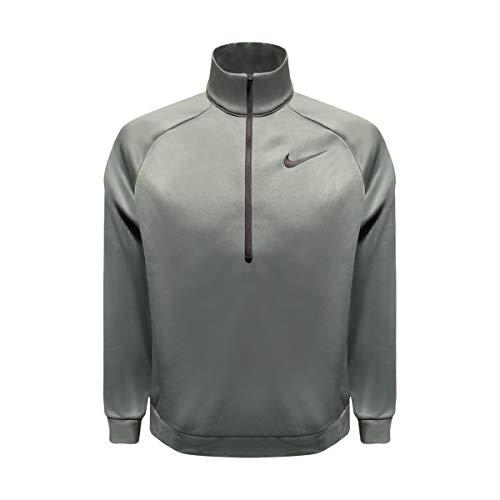 (Nike Mens Quarter Zip Long Sleeve Therma Shirt (Green Heather/Black, X-Large))