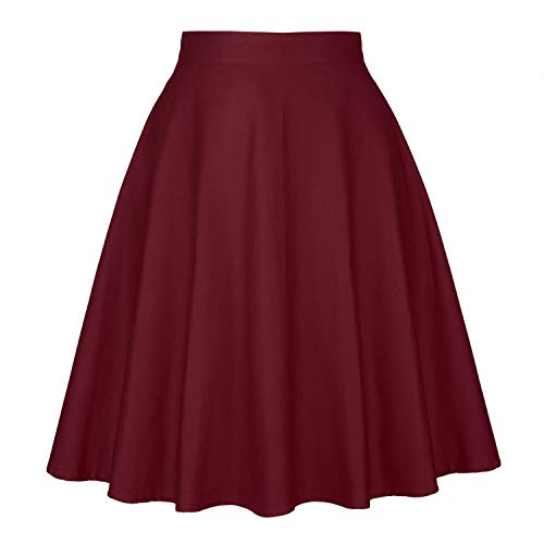 Femme Jupes Noire d't Femmes Taille Haute Taille Plus imprim Floral Pois Dames Jupes d't Skater 50 s Jupe Vintage midi Wine Red