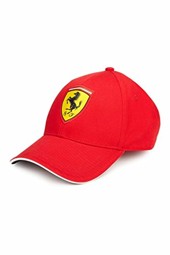 Ferrari Red Classic Adjustable Hat with Embroidered Scudetto - Shop Ferrari