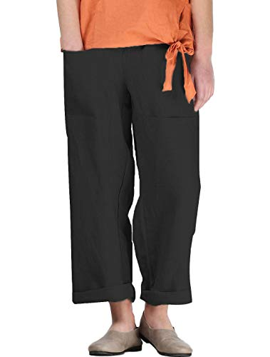 Mordenmiss Women's Linen Tapered Pants Wide Leg Ankle Trousers with Two Front Pockets(L,Black)