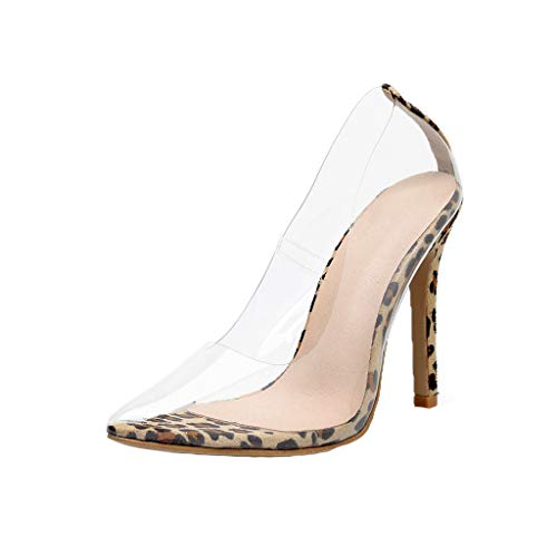 Dress Pump for Women,SMALLE◕‿◕ Women Leopard High Heel Pointed Toe Clear Pumps Heels Slip On Dress Shoes Yellow