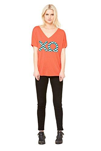 Chi Omega (XO) Sorority | Licensed Greek Flowy Ladies' V-neck Coral T-shirt