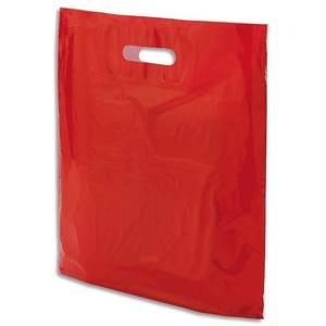 Emballage - Bolsas (100 unidades, plástico, con asa perforada, 37 x 45 cm), color rojo