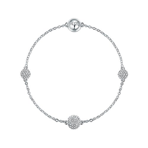 My Jewellery Story MYJS Remix Collection Pave Round Ball with Swarovski Crystals Rhodium Plated