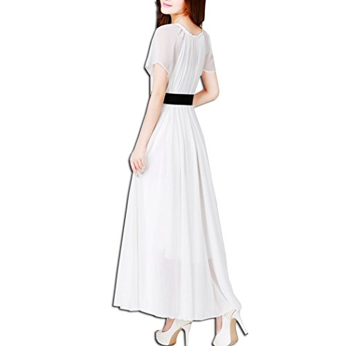 Lunga Bianco KAXIDY Sera Corta Abiti di Abiti Manica Vestiti Abito Donna Sezione wqOwpv