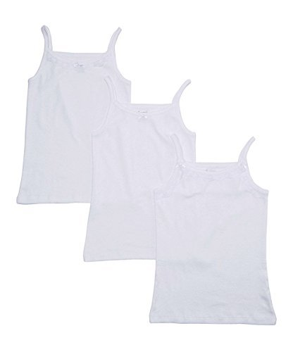 Amoureux Bebe Girls Solid White Tagless Cami Super Soft Undershirts (3/Pack) 6-7 by Amoureux Bebe (Image #2)