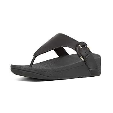 FitFlop Lottie Buckle Toe Thong Women's Sandals, Black, 5 US