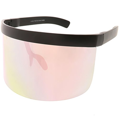 sunglassLA - Futuristic Oversize Shield Visor Sunglasses Flat Top Mirrored Mono Lens 172mm (Pink - Mirrored Visor