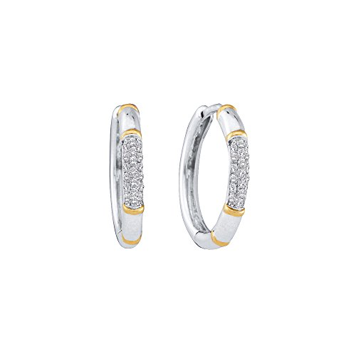 14kt White Gold Womens Round Diamond Two-tone Cluster Hoop Earrings 1/6 Cttw (I2-I3 clarity; I-J color) (Earrings Tone 14kt Diamond 2)