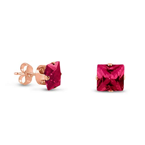 Campton Rose Gold Plated Sterling Silver Square Cut Created Ruby Earrings - Choose Size | Model ERRNGS - 14426 | 8mm - 2XL Large (Simon Clock Crystal)