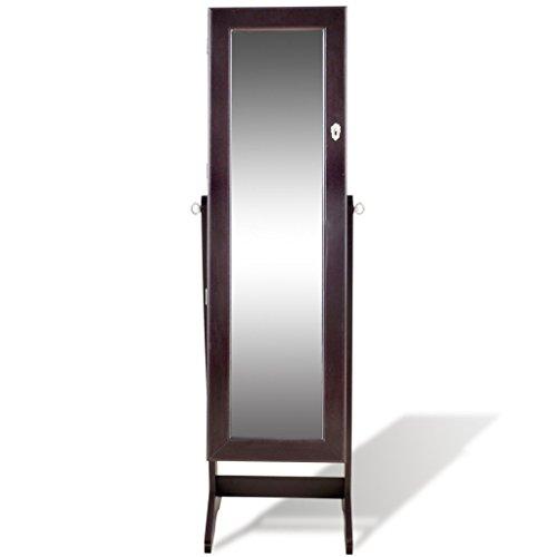 vidaXL Brauner Spiegelschrank mit Schmuckständer LED Licht -