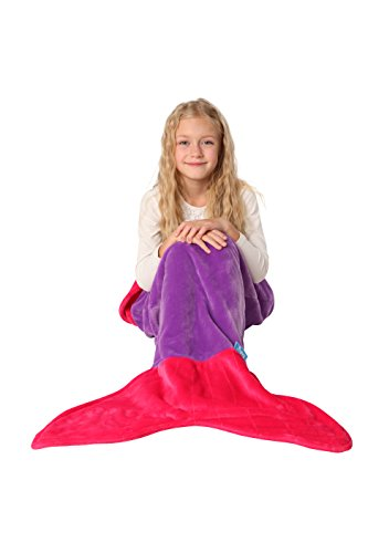 [ENFY Mermaid Tail Blanket - Super Soft and Warm Minky Fabric Blanket Perfect Gift for Girls Ages 3-12 (Dark Purple & Hot] (Grady Twins Costume)