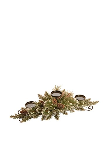 National Tree 30 Inch Glittery Pine Centerpiece with 3 Candle Holders and 9 White Tipped Cones (GB3-810-30C-B)