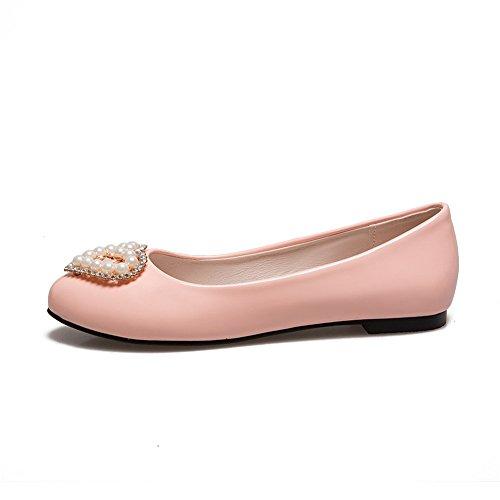 Basse Donna Scarpe Scarpe Bocca a Larga Pigri Bocca da Punta Vernice Piatta Pink in E1wqdw6nR