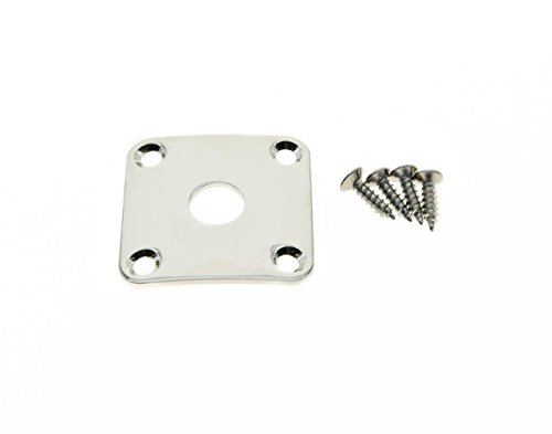 (KAISH Nickel Metal Curved Bottom Jack Plate Square Jackplate for Gibson Les Paul)