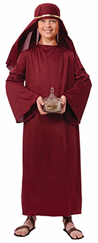 Burgundy Wiseman Child Costume (Boys Biblical Shepherd Burgundy Nativity Wisemen Robe And Sheik Bundle)
