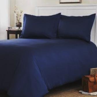 TEMPTATION Egyptian Cotton 1200TC 4Pcs Solid Sateen Comforter(White) and Duvet cover Set King Navy blue. ()