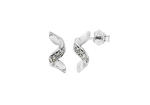Boucles d'oreilles en or blanc 9carats Diamant Twist