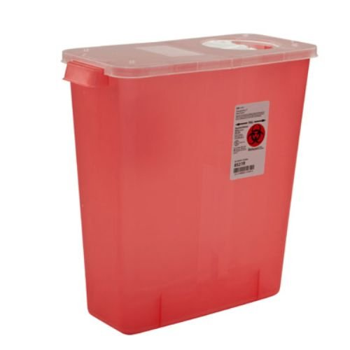 Covidien 8527R Multi-Purpose Containers with Rotor and Hinged Opening Lid, 3 gal Capacity, 13.75'' Height x 6'' Depth x 13.75'' Width, Transparent Red (Pack of 10)