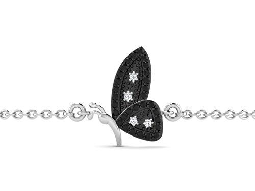 Or Blanc 9 ct Bracelet Diamant en forme de papillon, 0.17 Ct Diamant, GH-SI, 0.99 grammes.