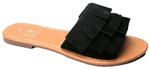 BETANI Amanda-65 Women Suede Ruffle Slip On Slides Flip Flop Sandal Black Black z58c2