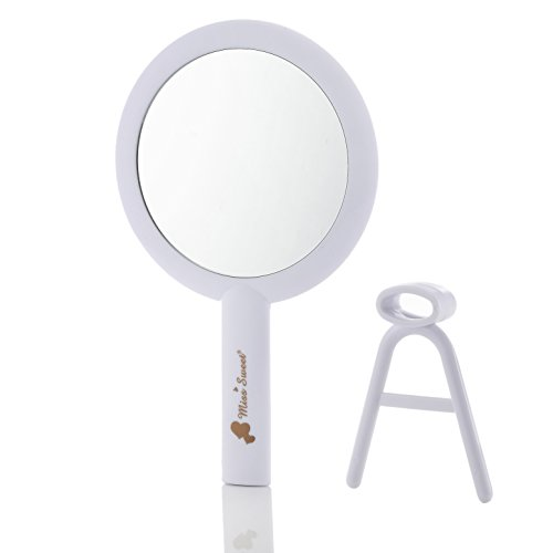 Miss Sweet Handheld Mirror Makeup Mirror with 10X Magnification & True Image, 6.16.1inch (White 10X/1X)