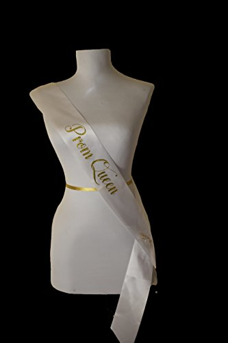 White Satin Prom Queen Sash with Gold Glitter Encased in the Lettering