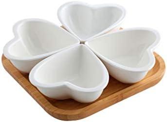 SHUUY 四グリッドセラミック食器木製トレイドライフルーツスナックキャンディディッシュ分割ディッシュ醤油醤油皿フルーツ盛り合わせセラミック板
