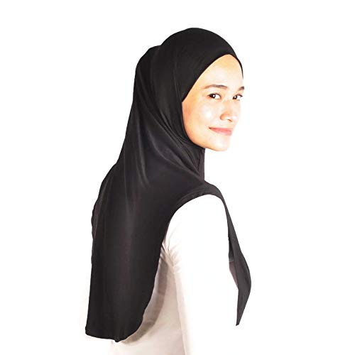 Silk Story One piece al amira Hijab Instant Head Scarf Cotton Jersey Long Comfort Hejab Cover (L Size)