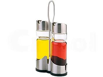LS Kitchen - Set de Vinagrera y Aceitera - Acero Inoxidable y Cristal - 2 Piezas