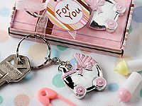 Pink Baby Carriage Design Key Chains, Pack of 30