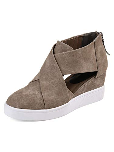 DecoStain Women's Concise Criss-Cross Cut-Out Wedge Sneakers Plus Size Back Zipper Shoes