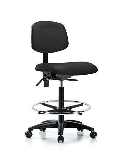 LabTech Seating LT44907 High Bench Chair, Vinyl, Nylon Base, Chrome Foot Ring, Casters, Black Base Foot Ring Casters