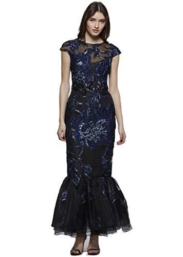 David Meister Gowns - David Meister Women's Cap Sleeve Evening Gown 16 Navy
