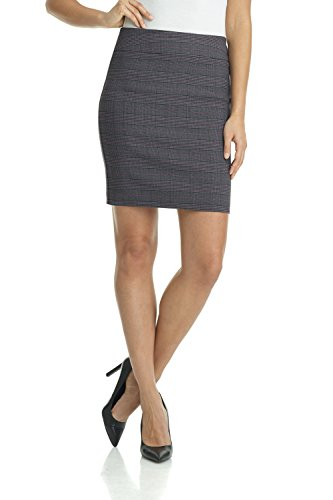 Rekucci Women's Ease Into Comfort Above The Knee Stretch Pencil Skirt 19 inch (X-Large,Charcoal/Wine)