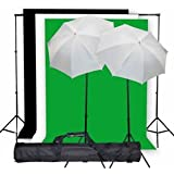 "StudioFX Photo Studio Lighting Light kit & Stand / (3) 10' x 10' Muslin Green, White, Black / (2) Snow White Umbrella 33"" -- K1 by Kaezi Photo"