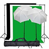 StudioFX Photo Studio Lighting Light kit & Stand / (3) 10' x 10' Muslin Green, White, Black / (2) Snow White Umbrella 33'' -- K1 by Kaezi Photo