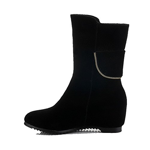 Frosted Pull On Toe Solid Black Kitten AgooLar Heels Round Boots Women's Closed qn1twX
