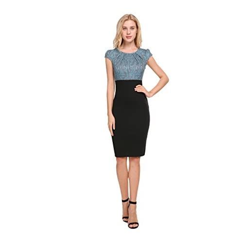 Cerisiaann Womens Pencil Dress Cap Sleeve Midi Office Lady Formal