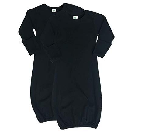 Black Newborn Sleeper - Laughing Giraffe Newborn Baby Long Sleeve Gown with Mittens Black (2-Pack)