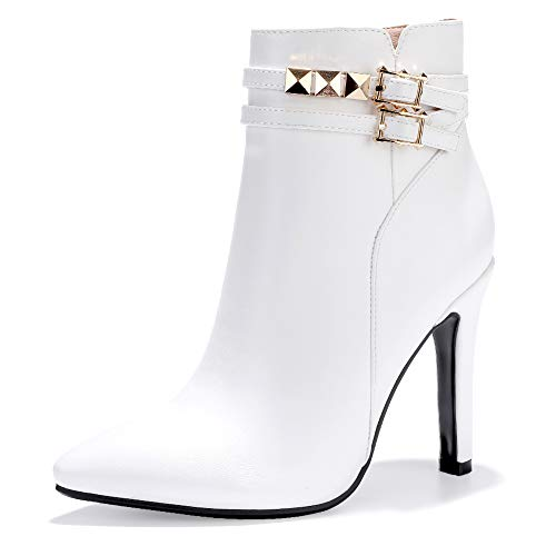 (IDIFU Women's Vivian-R Studded Buckle Strap Pointed Toe Ankle Booties Stiletto Heel Side Zipper Short Boots (White Pu, 7.5 M US))