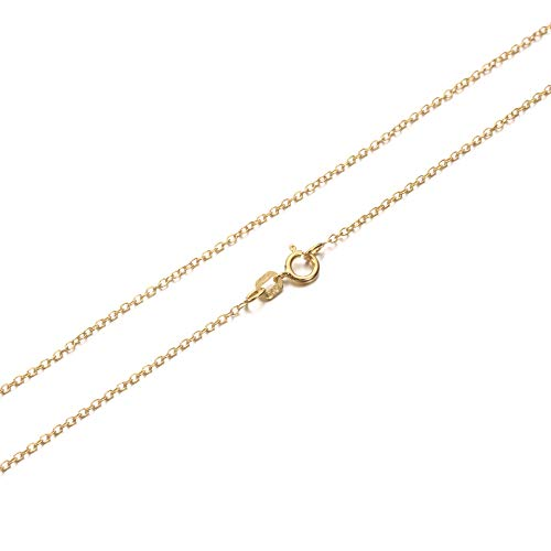 KEZEF Creations Cable Chain Necklace Sterling Silver Italian 1.3mm Gold Plated Nickel Free 26 inch