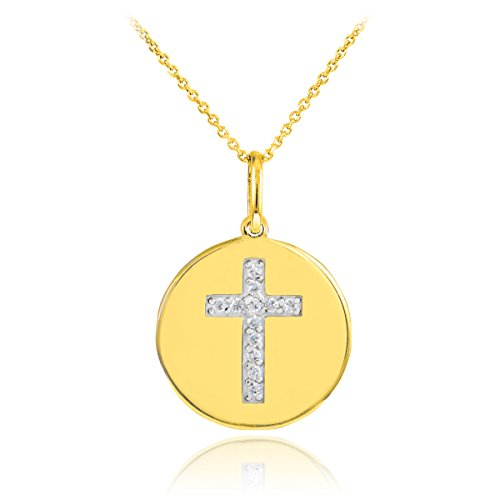 14k-Gold-Cross-Diamond-Disc-Pendant-Necklace