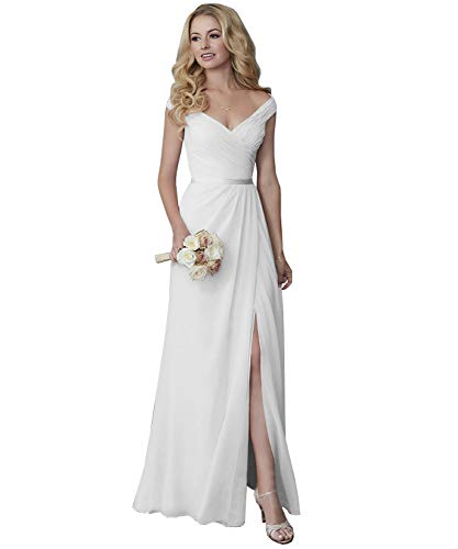 Yilis Elegant V-Neck Chiffon Split Long Beach Wedding Dress with Matching Sash Bridal Gown White 12