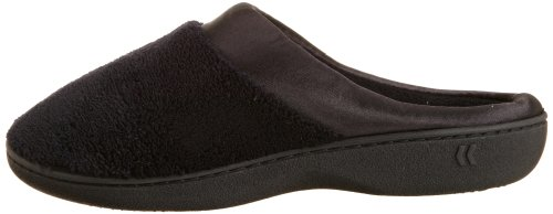 Isotoner Women's Microterry PillowStep Satin Cuff Clog Slippers, Black, 7.5-8 B(M) US
