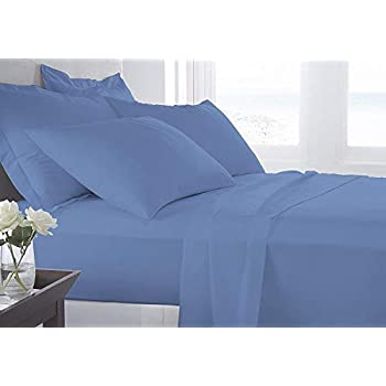Image of Amuze Bedding 7 Piece Bed Sheet Set Organic Cotton 800 TC (1 Flate Sheet, 1 Fitted Sheet Upto 17' Deep Pockets, 1 Duvet Cover, 4 Pillowcases) (Mediterranean Blue, King) Home and Kitchen