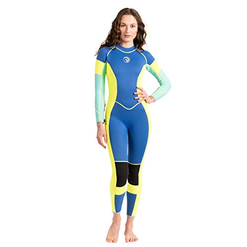 Scubadonkey 3 mm Neoprene Women's Wetsuit | Colourful Panel Slimming Design | 3 mm Neoprene Thermal Protection | Anti Abrasion Scuba Diving Surfing Fishing Kayaking Swimming